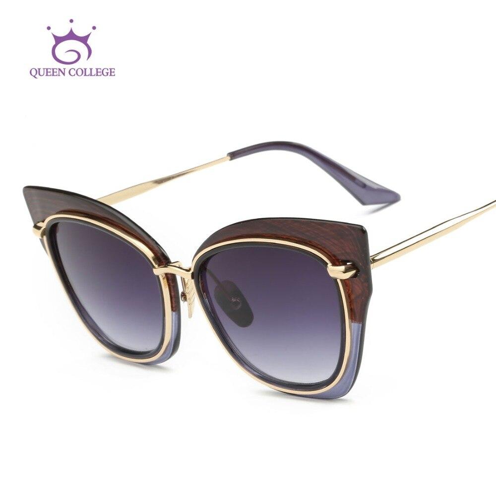 Queen College Sunglasses Women Summer Style Brand Designer Cat Eye Copper Temple Sun Glasses Retro Shades With Box QC0426