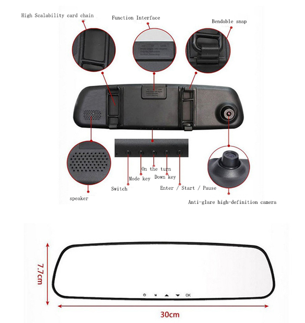 Car camera recorder rearview mirror camera 2.4 inch 230 cars dvr parking video  dash cam full mirror registrator car