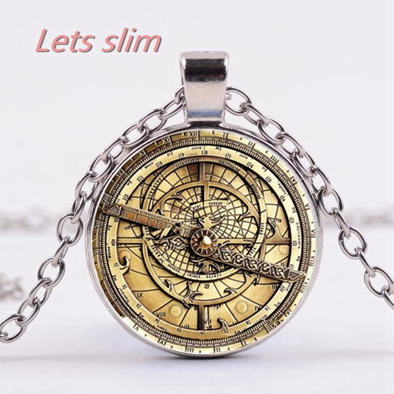 Steampunk Gravity Waterfall Mystery Bill CIPHER WHEEL Glass Necklace Handmade Suspensions Clips Compass Pendant Tricket