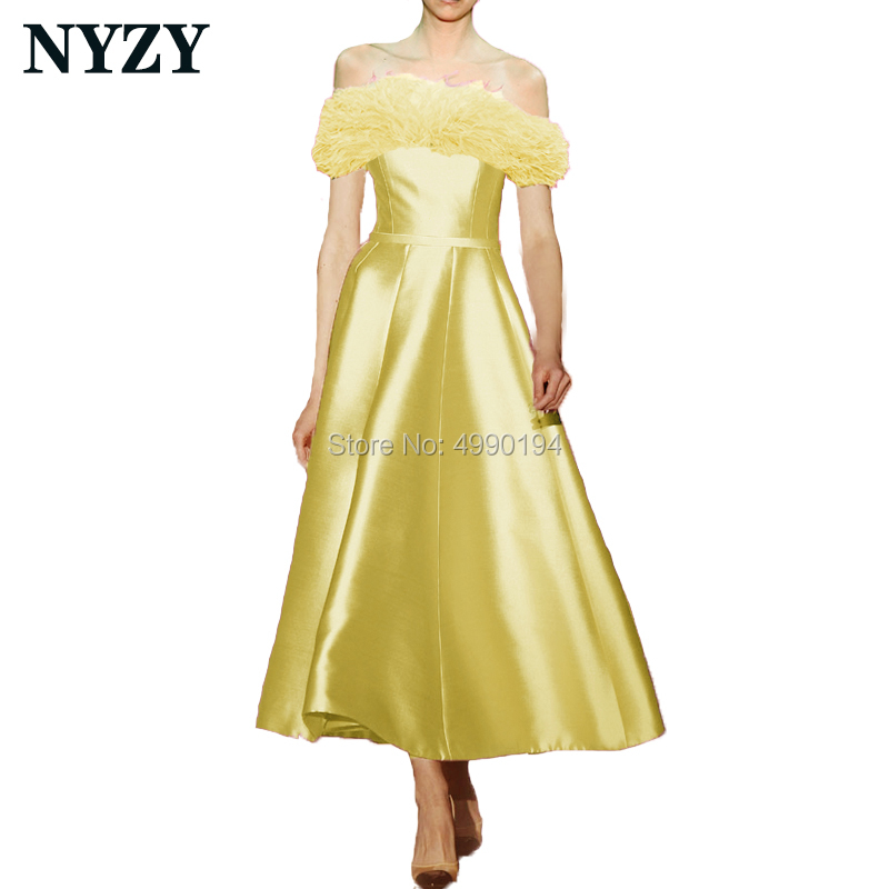 Feather Cocktail Dresses NYZY E200 Yellow Satin Off Shoulder Tea Length Formal Dress Party Gown Homecoming Graduation