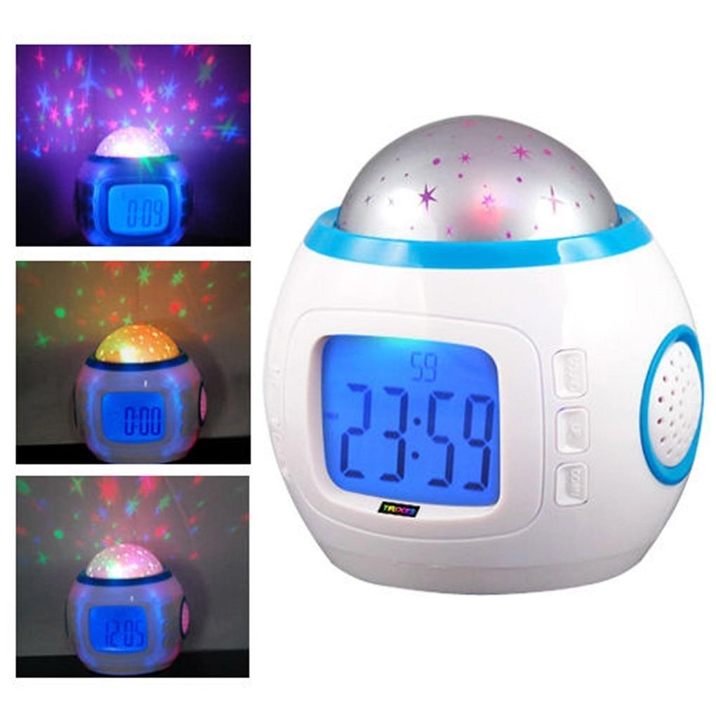 Colorful Star Children Alarm Clocks Room Night Light Clock