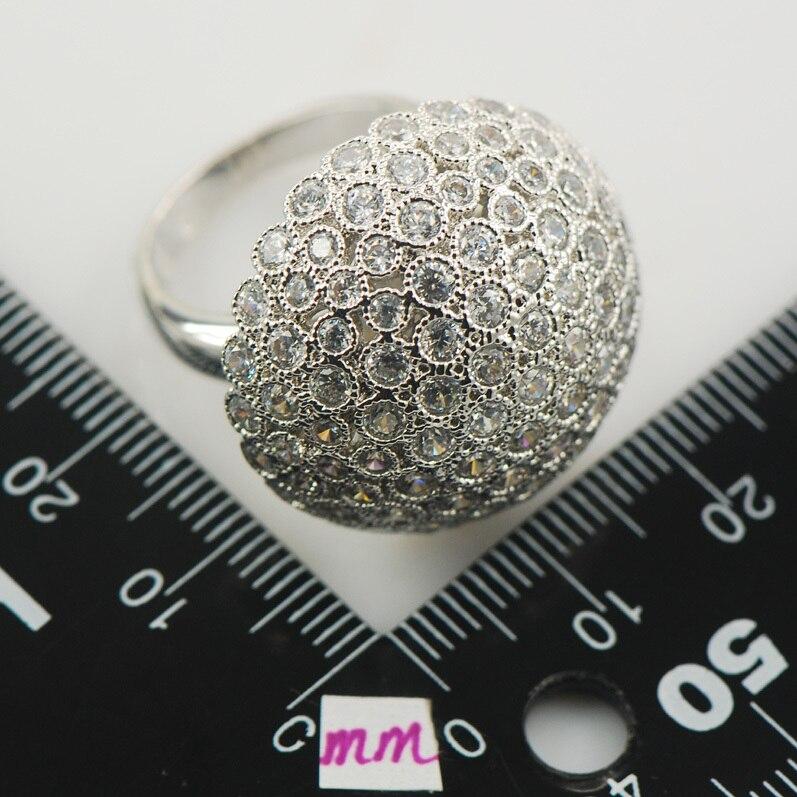 Micropave cristal Zircon cristal blanc Zircon 925 bague en argent Sterling taille 6 7 8 9 10 11 A02 - 3