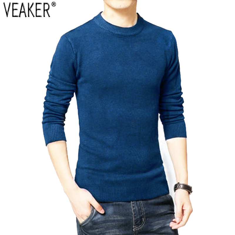 Knitted Sweater Pullover Slim-Fit O-Neck Male Autumn Men's New Black Casual Solid S-2XL