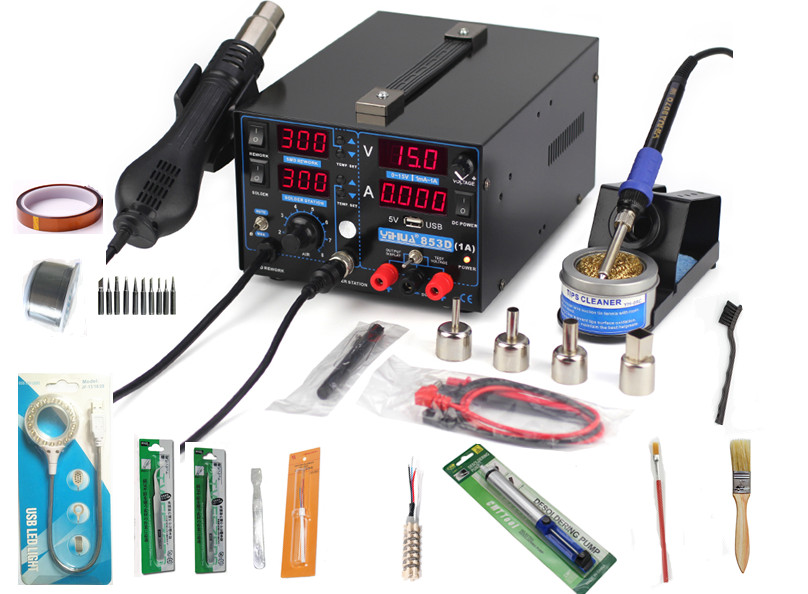4in 1set 853D 1A USB 110V 220V Hot Air Gun Rework Station Soldering iron + Heat Gun + Power Supply Welding Repair Solder Station