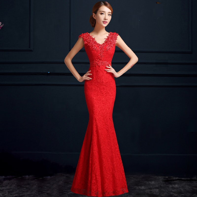 Mermaid V Neck Lace Sexy Red Wedding Cheongsam Traditional