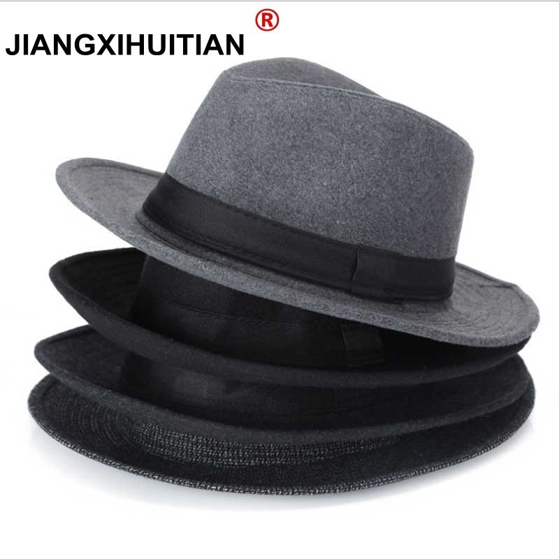 Wool men Black Fedora Hat For Women's Wool Wide Brim JazzChic Cap Vintage Panama Sun Top Hat(China)