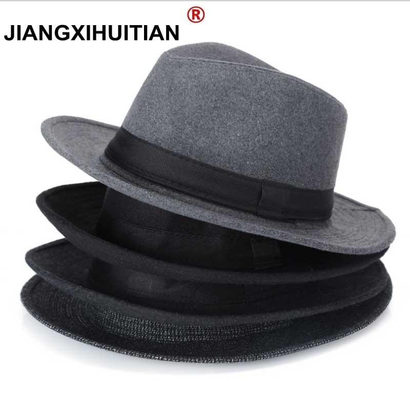 Los hombres Negros de lana Fedora Sombrero Para Las Mujeres de Lana De Ala Ancha JazzChic Panamá Sun Sombrero de Copa Casquillo de La Vendimia