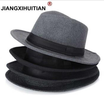 1d70564eb1be1 Los hombres negros de lana fedora sombrero para las mujeres de lana jpg  350x350 Fedora panamá