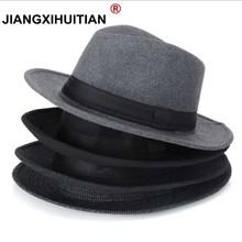 Wool men Black Fedora Hat For Womens Wool Wide Brim JazzChic Cap Vintage Panama Sun Top Hat cheap Adult jiangxihuitian Solid Unisex Casual Cotton Wool hats for women Fedoras autumn winter 5 color