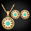 Islam Set For Women Round Earrings Pendant Necklacesyellow Gold Plated Sun Star Vintage Jewelry Set For Women Gift PE932