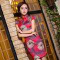 2015 Qipao Chinese Traditional Dress Red Cheongsams Short Sleeve Cotton Qipao Dresses Mujere Vestido Evening  Dresses