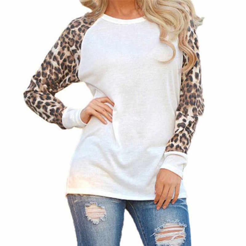 Camiseta mujer 2019 moda mujer leopardo camisetas Primavera Verano chifón Patchwork manga larga Camiseta Casual Tops camiseta Mujer