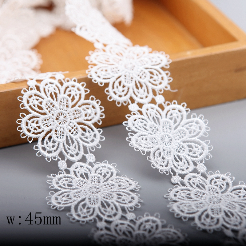 3 Meters Micro Fiber Pearl Lace Edge Trim Ribbon 3.5 cm Width Vintage Style White Edging Trimmings Fabric Embroidered Applique Sewing Craft Wedding Bridal Dress Embellishment Decor Clothes Embroidery