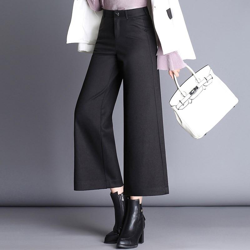 New 2018 Autumn Winter Woolen   Pants     Capris   Women Fashion Elegant Plus Size Casual   Pants   Wide Leg   Pants   Female Black   Pants   Women