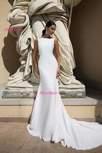 Image 2 - Simlple Soft Satin Mermaid Bride Wedding Dress 2019 new Robe de mariee sexy backless Bridal Gown vestidos de noiva