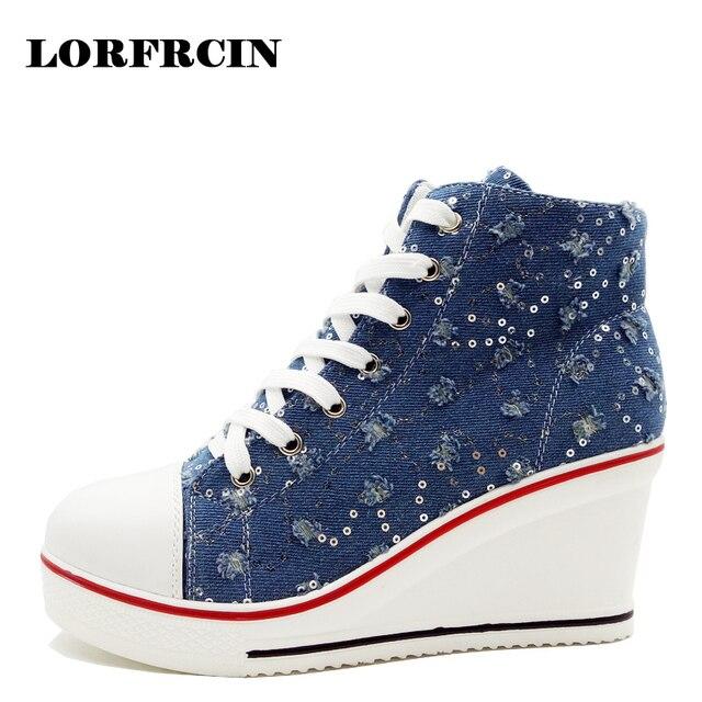 2edba6126c US $25.89 30% di SCONTO|LORFRCIN Donne Sneakers Tacco Alto Scarpe di Tela  Bling Zeppe Scarpe Per Le Donne di Alta Top Sneakers Donne Piattaforma ...