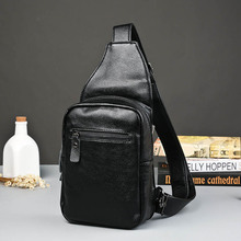 Korean men's chest pack male New Fashion Shoulder Bag Crossbody Leather Bag Leather chest male bag