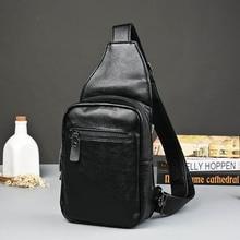 Korean men's chest pack male New Fashion Shoulder Bag Crossbody Leather Bag Leather chest male bag