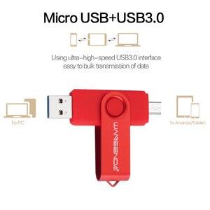 Image 2 - WANSENDA Usb 3.0 محرك فلاش USB عالية السرعة OTG القلم محرك 16GB 32GB 64GB 128GB 256GB بندريف 2 في 1 المصغّر USB عصا مزدوج USB