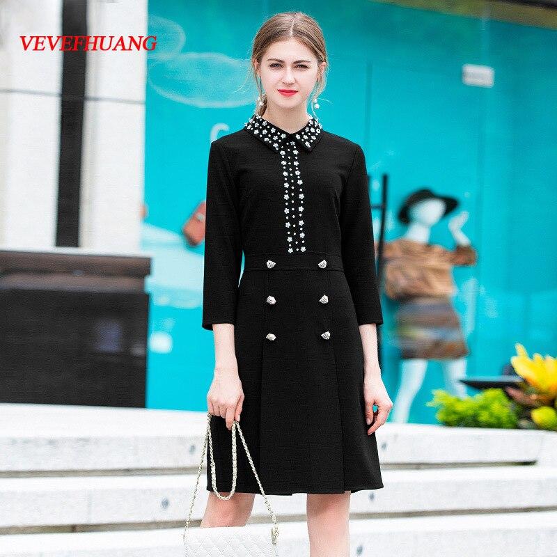 Black Noir 2018 Bouton Vevefhuang De Nouveau Mince Femmes 4 Perles 3 Mode Automne Partie Robe Manches Robes Luxe Midi Animal Femme WRYdYwqZF