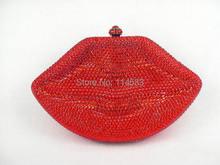 LIPS RED Crystal Lady fashion Wedding Bridal Party Night Metal Evening purse clutch bag handbag