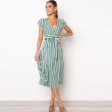 Multi Striped Dress 2019 Elastic Waist Spaghetti Strap Midi Sexy Boho Beach Women Summer Sundress