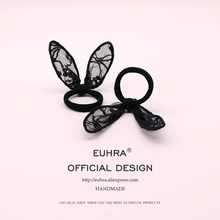 EUHRA 1Piece Elastic Hair Bands Lace Rabbit Ears Bunny For Women Girls Band Kid Children Rubber