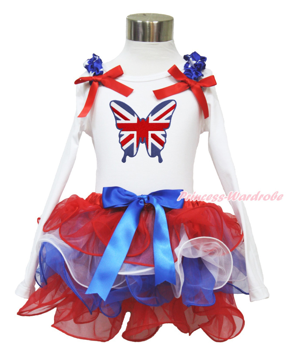 4th July British Butterfly White Long Sleeves Pettitop Red White Blue Petal Pettiskirt NB-8Y MAMH223 pumpkin print white pettitop coral petal skirt nb 8year baby girl mamh241
