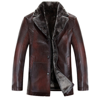2015 New Arrival Top Quality Winter Single Breasted Hooded Leather Jacket Men Trench Coat Mens Leather