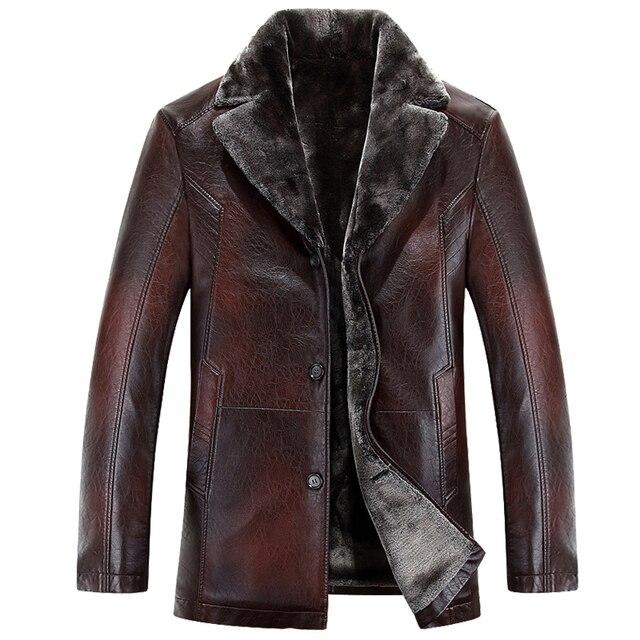 2016 новое прибытие высочайшее качество зима однобортный с капюшоном кожаная куртка мужчины тренчкот мужские кожаные куртки и пальто 400