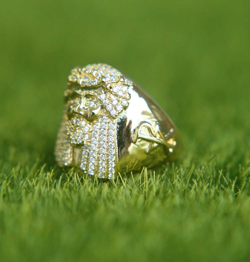 Кольцо Крест Иисуса для мужчин золотой тон кубического циркония CZ браслет мужские ювелирные изделия Anel Aneis Masculinos