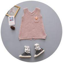 Korea Style New 2016 Free Shipping Baby Boys Girls Sweater V Collar Knitted Kids Wear Infant Toddler Children Clothing