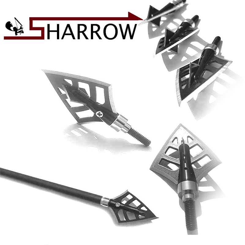 12pcs Crossarrow Stainless Steel Blades Archery Broadheads 125 Grain Arrow Head Hunting  ...