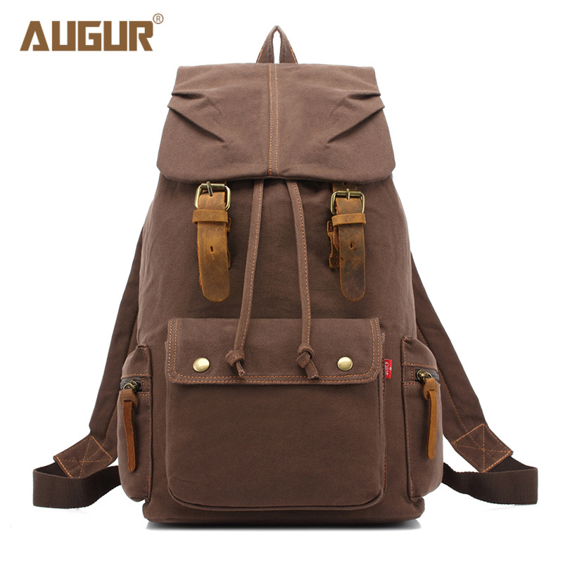 2018 NEW AUGUR Men Backpack Canvas Large Backpack Travel Bags For Men/Women Casual School Bag Vintage Military Style Backpacks new vintage backpack canvas men shoulder bags leisure travel school bag unisex laptop backpacks men backpack mochilas armygreen