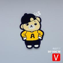 embroidery chenille bear patches for jackets,towel badges jeans,appliques clothing A588