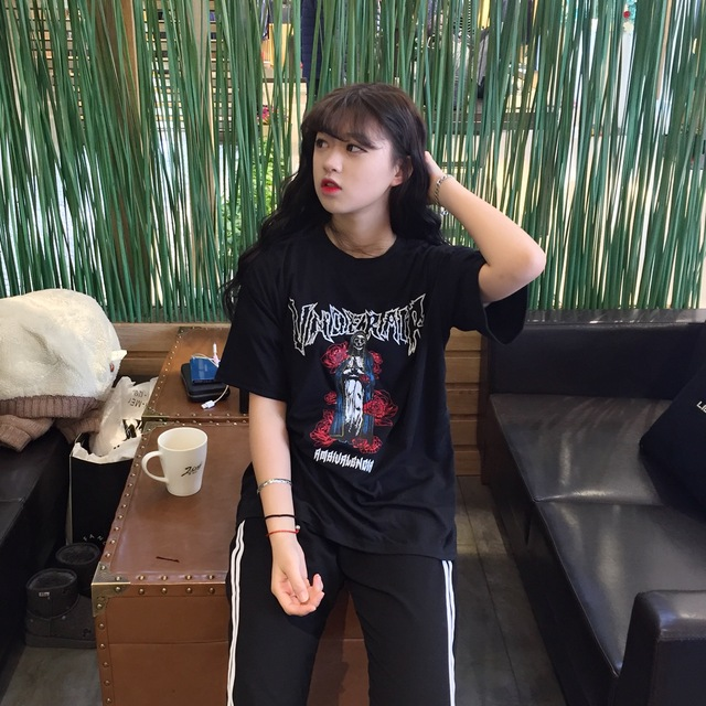 Halajuku Cartoon Style Printed Rose Loose Black Big Short Sleeve Female T-shirt 5