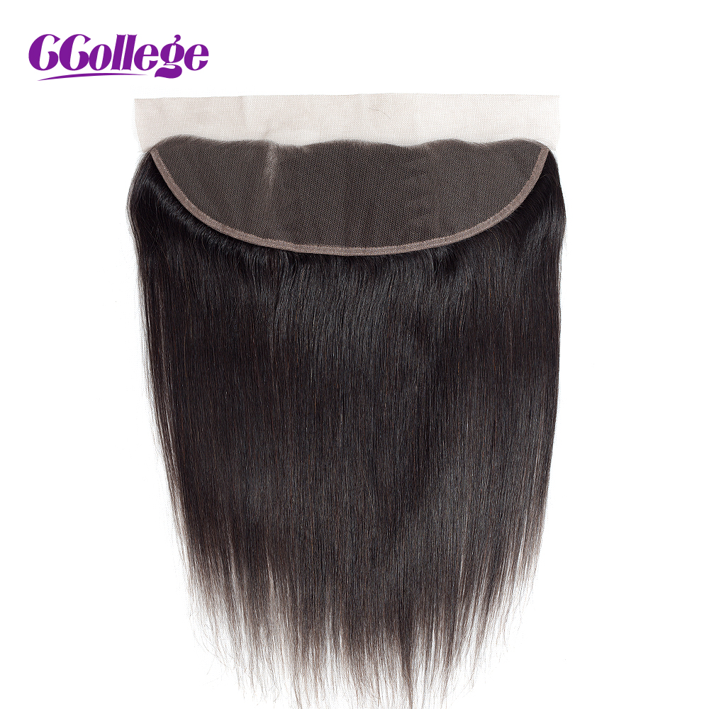 CCollege Brazilian Lace Frontal Closure With Baby Hair Straight Hair 13 4 Ear to Ear Natural