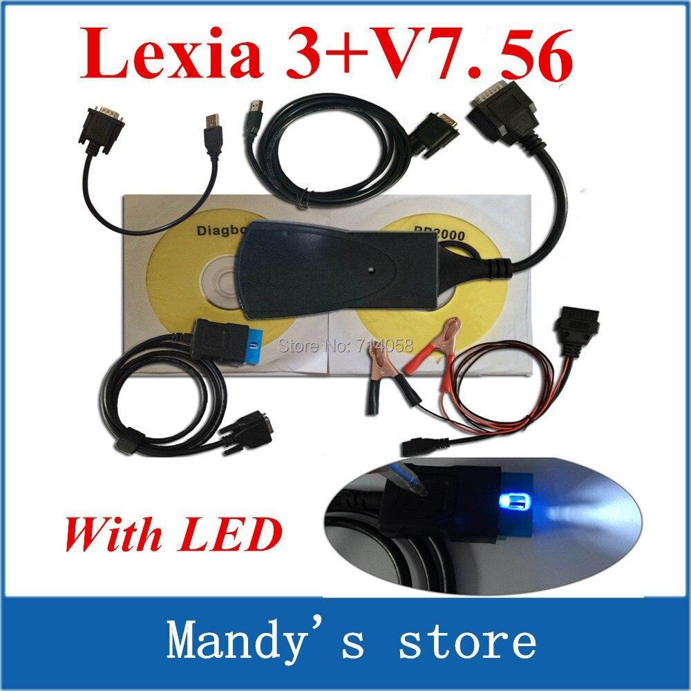Prix pour Lexia 3 + avec le câble led! Top vente lexia3 outil de Diagnostic pp2000 lexie 3, Lexie - trois diagbox logiciels 7.56