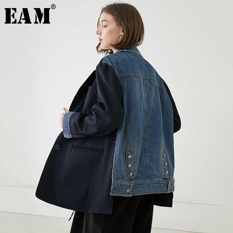 [EAM] 2019 New Autumn Winter Lapel Long Sleeve Blue Back Denim Split Joint Loose Big Size Jacket Women Coat Fashion Tide JQ454