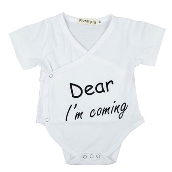 Newborn Baby Bodysuits Infant Toddler Girl Boy Body suit Dear I'm Coming Letter Jumpsuits V-Neck Baby One Piece Clothing