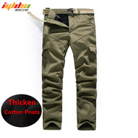 Double Layer Men S Winter Cargo Pants Warm Outdoors Classic Pants Men Baggy Thick Army Military