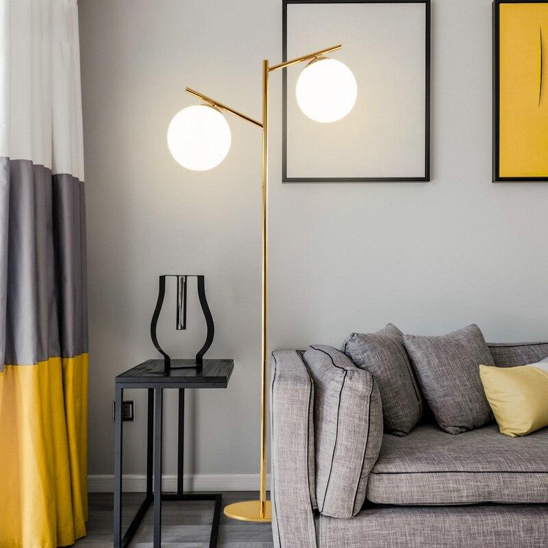 Блеск Гальванизируйте Золото E27 напольный светильник 2 свет Глобусы Торшер для Спальня Освещение в помещении Lamparas для фойе