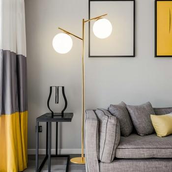 Lustre Electroplate Gold E27 Led Floor Lamp 2 Light Globe Floor Lamp For Bedroom Indoor Lighting Lamparas For Foyer
