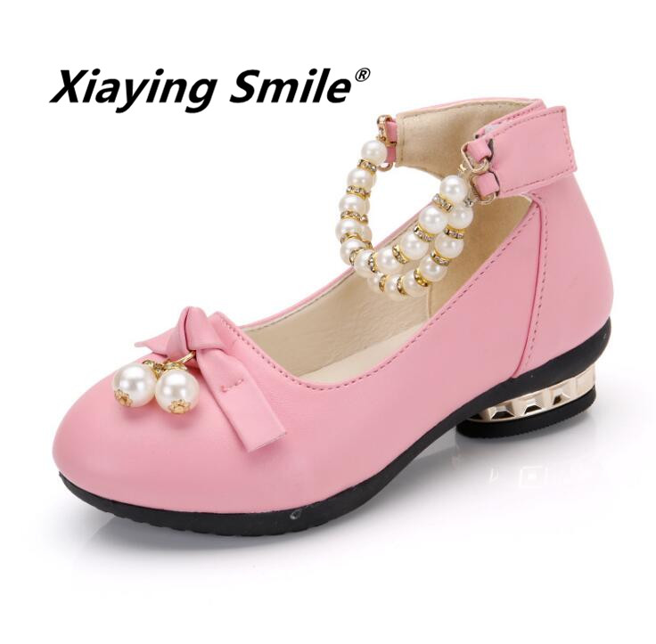 Girls Shoes Children Loafers Kid Shoes Little Princess Summer Pearl String Bead Fashion Casual Hook And Loop Lace Shoes
