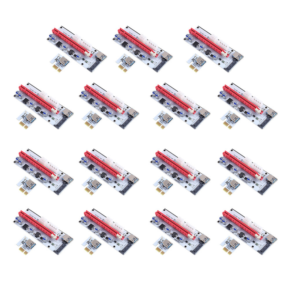 15pcs Riser Board Expansion Card 008S PCI-E 1x to 16x Adapter Express Riser Card USB3.0 Data Cable Power Cable Kit for BTC Miner new usb3 0 008s pci e riser express 1x 4x 8x 16x extender riser adapter card sata 15pin to 6pin power cable dual power interface