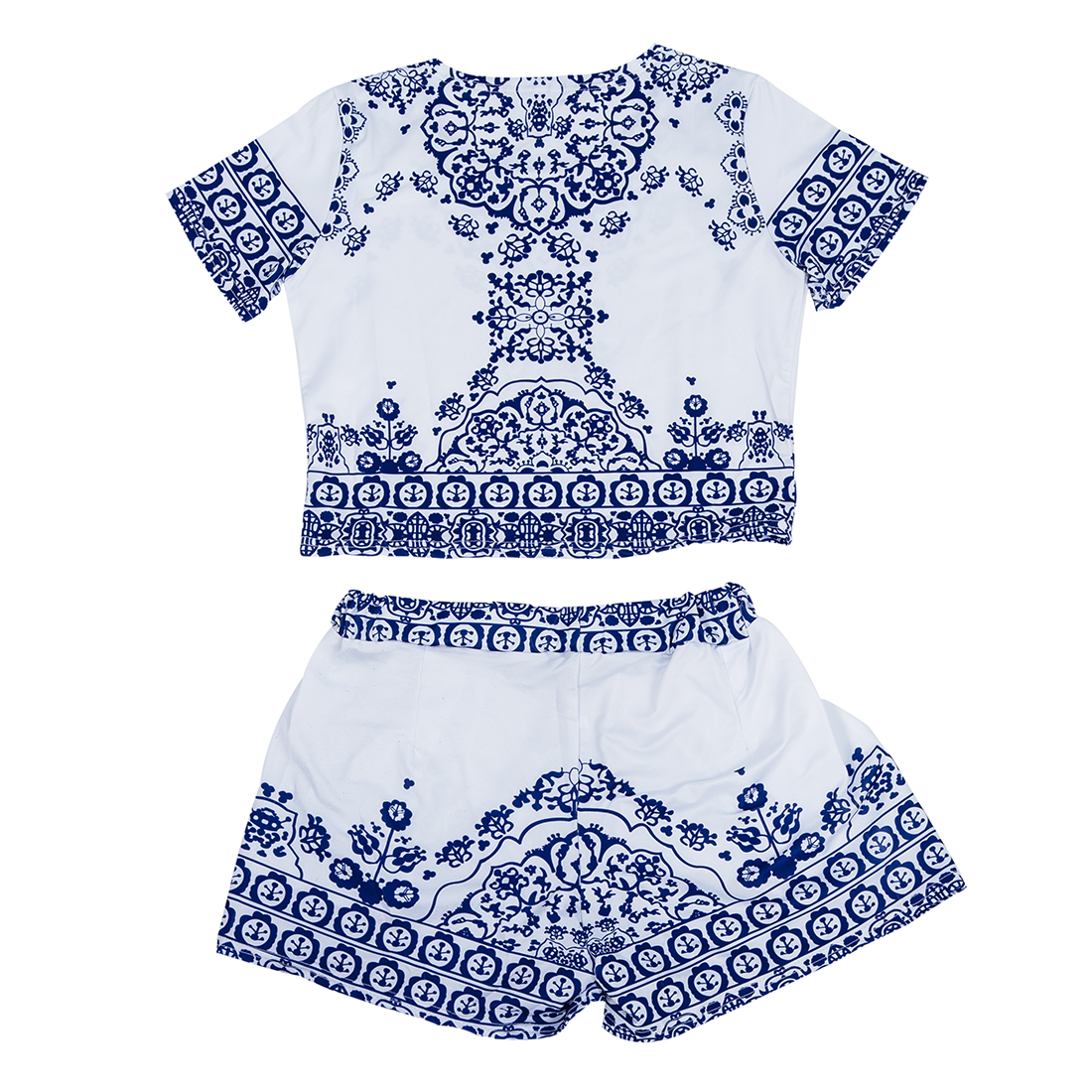 Sexy Women Summer Floral Printed Loose Ladies 2 Piece Crop Tops And Shorts