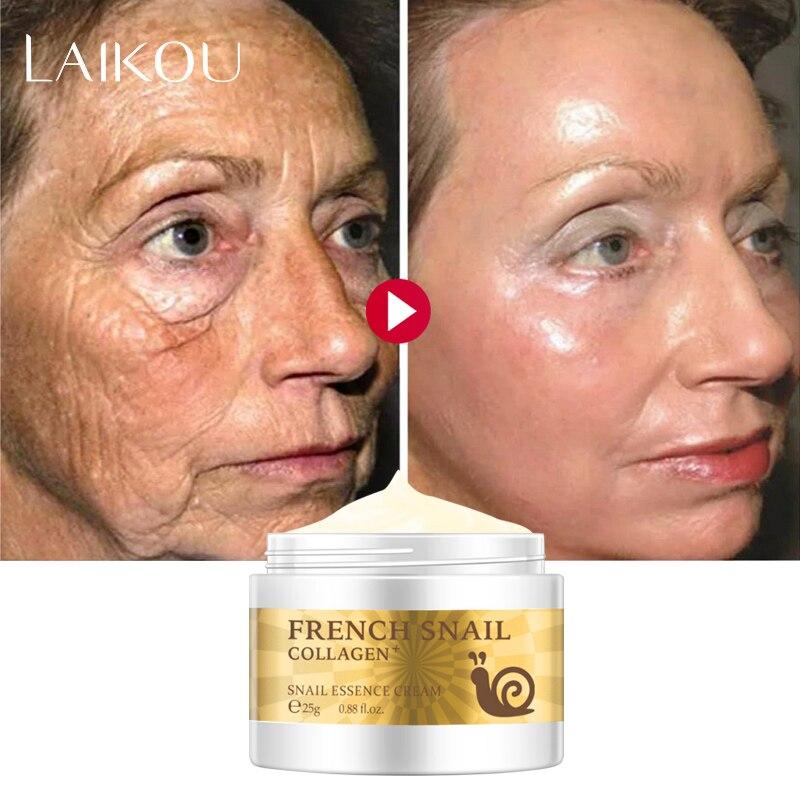 Escargot crème visage acide hyaluronique Anti-rides Anti-âge crème de jour visage collagène hydratant nourrissant peau serrée sérum soin
