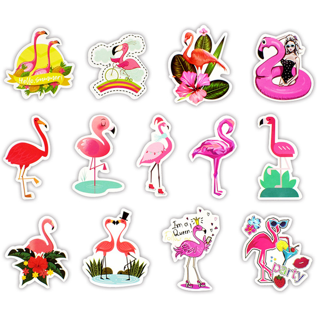 50pcsset Cute Flamingo Sticker Photo Laptop Self Adhesive Diy Craft