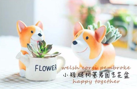 Image 3 - CAMMITEVER Corgi Dog Planter Garden Plant Container Miniature Ornament Potted Flower Craft Microlandschaft Succulent Cactus Herb-in Figurines & Miniatures from Home & Garden