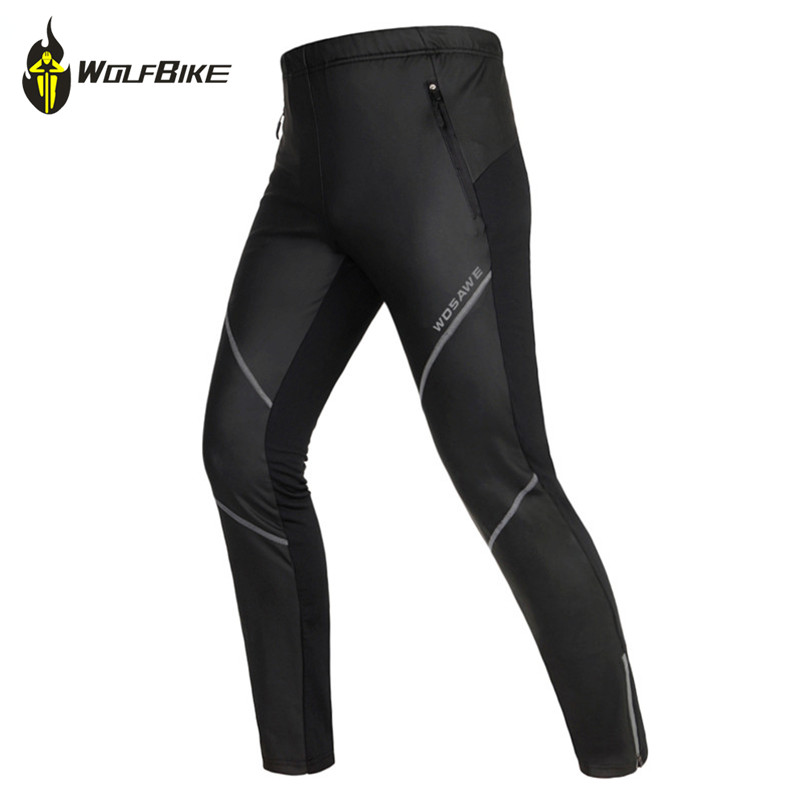 WOSAWE Cycling Pants Men Thermal Fleece Waterproof Pants Winter Windproof Pants Sports Outdoor Winter Autumn Trousers rax 2015 thermal fleece hiking pants for men women winter outdoor sports warm fleece trousers fleece camping pants 54 4f089